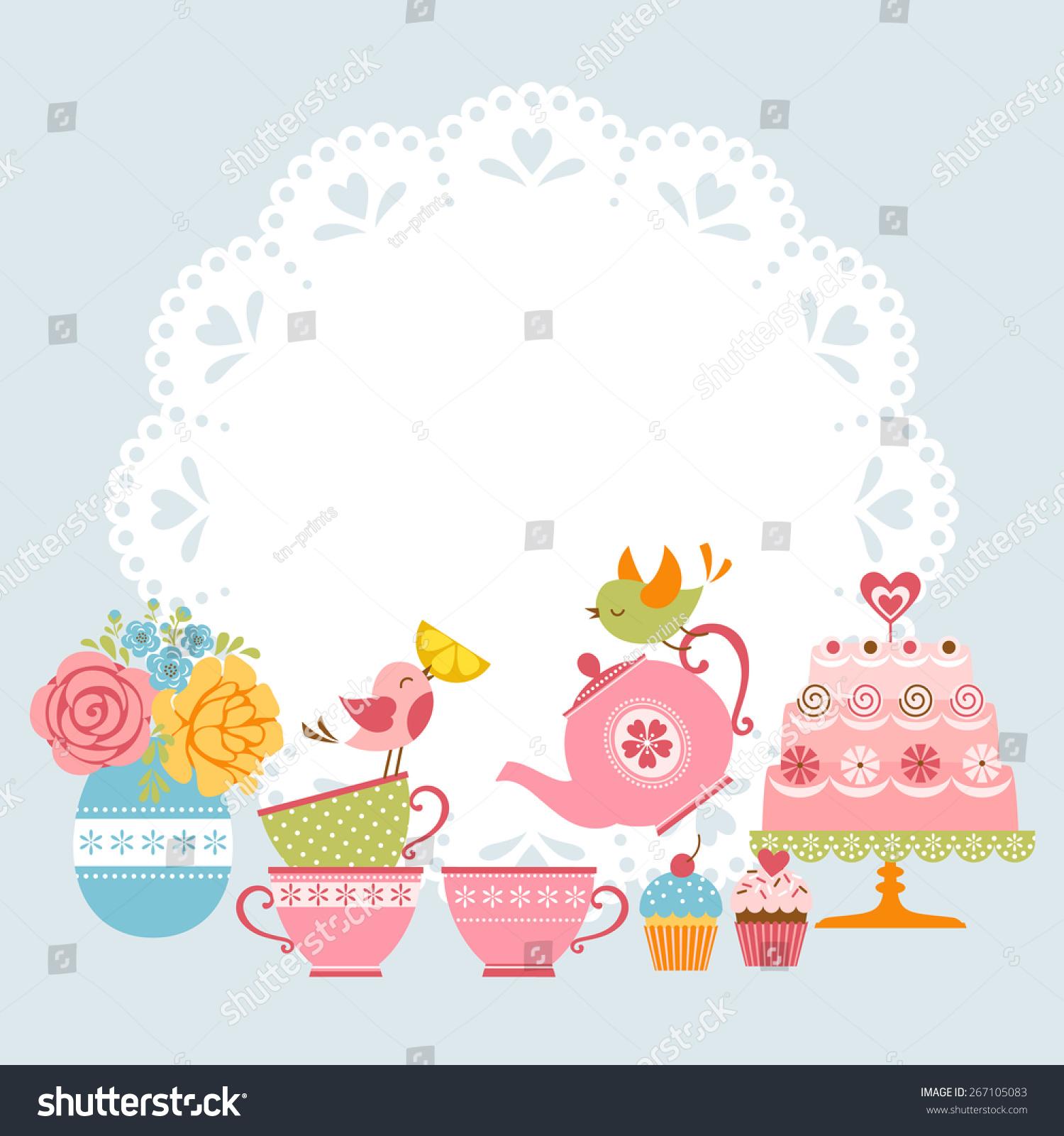 Tea Party Invitation Cute Birds Place Stock Vector 267105083 ...