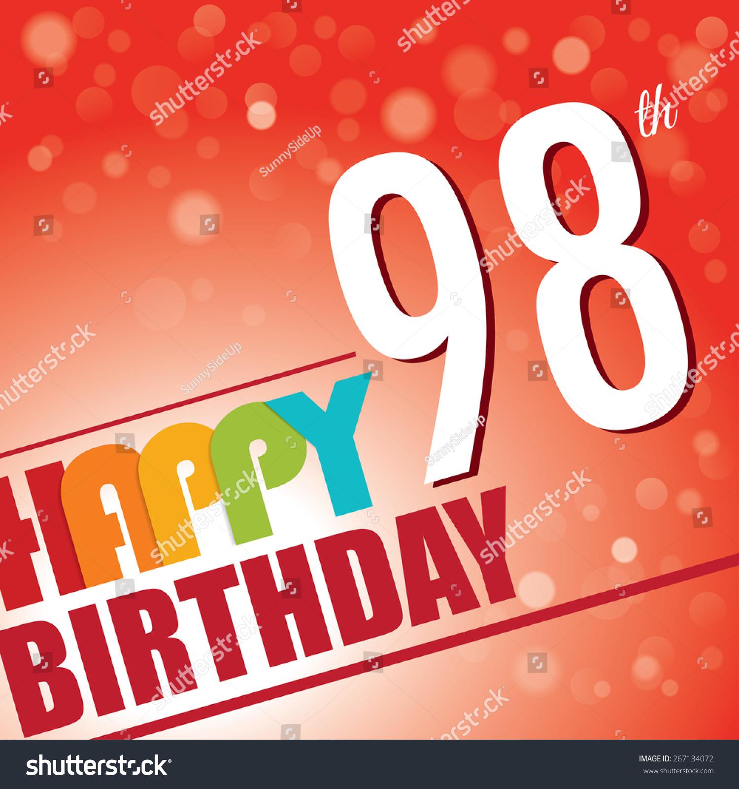 98th Birthday Party Invitetemplate Design Bright Stock Vector