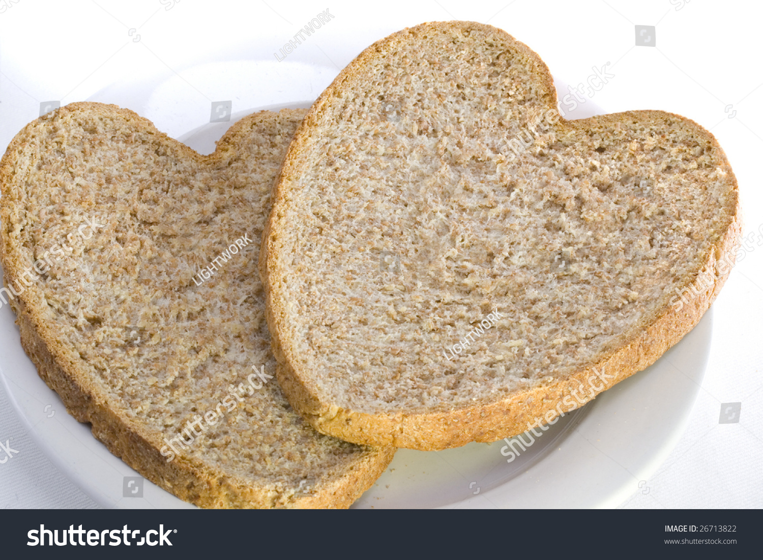 Two Slices Healthy Heart Shaped Wholemeal Stock Photo ...