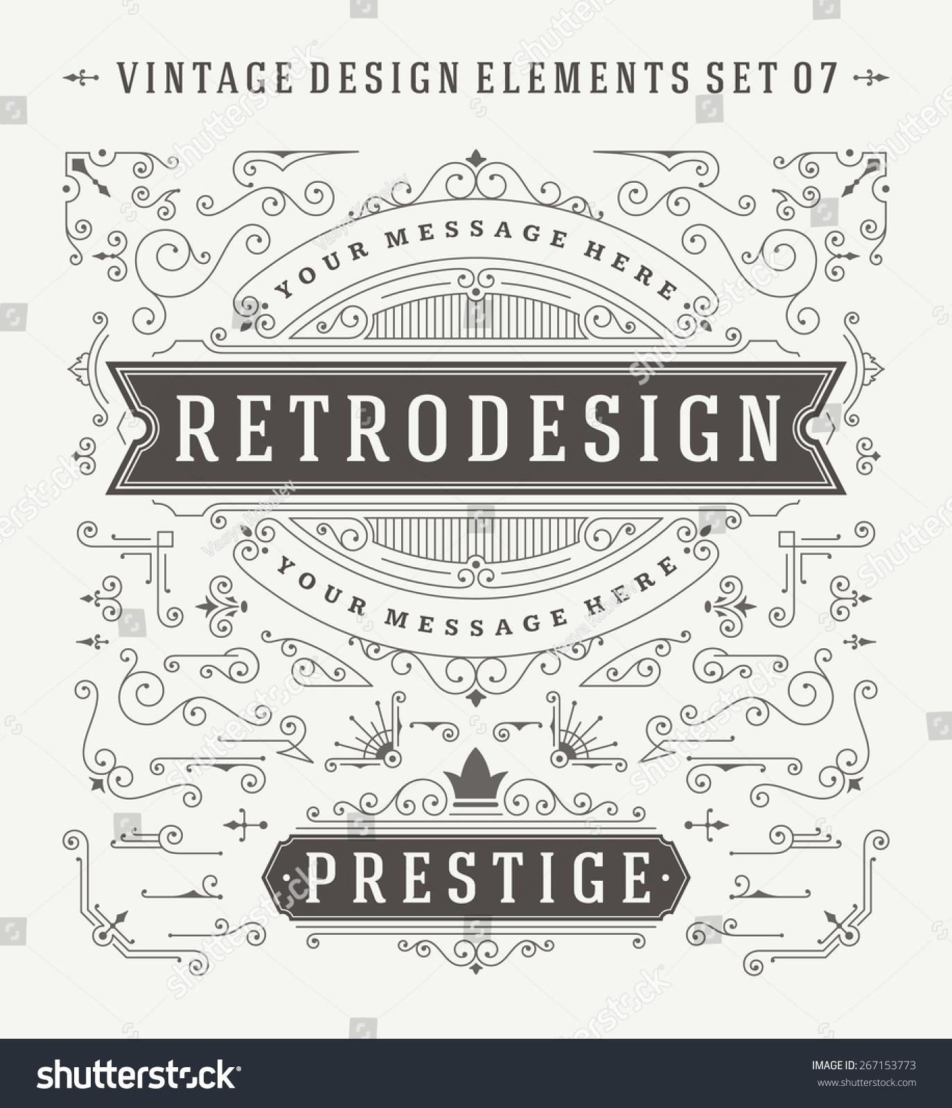 Decorative Wedding Invitation Badge 7: Vintage Vector Swirls Ornaments Decorations Design Stock