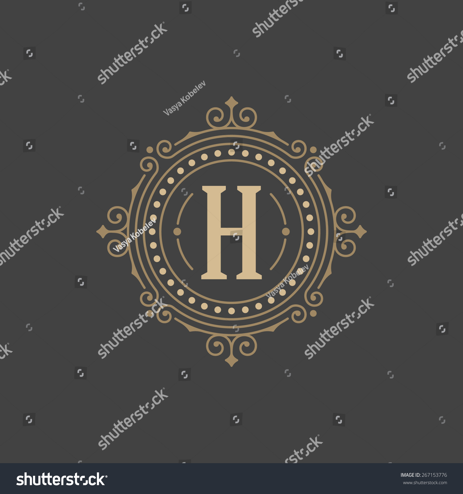 Flourishes Calligraphic Monogram Emblem Template Luxury Stock Vector ...