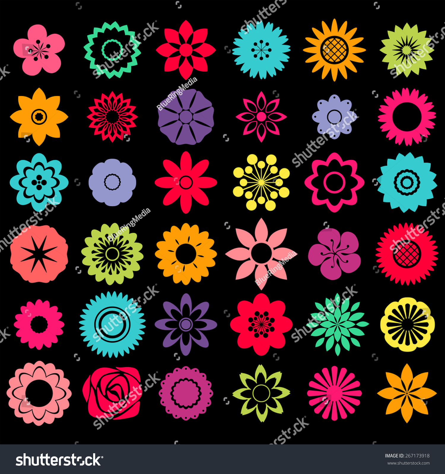 Different patterns flower shape designs stock vector for Different design