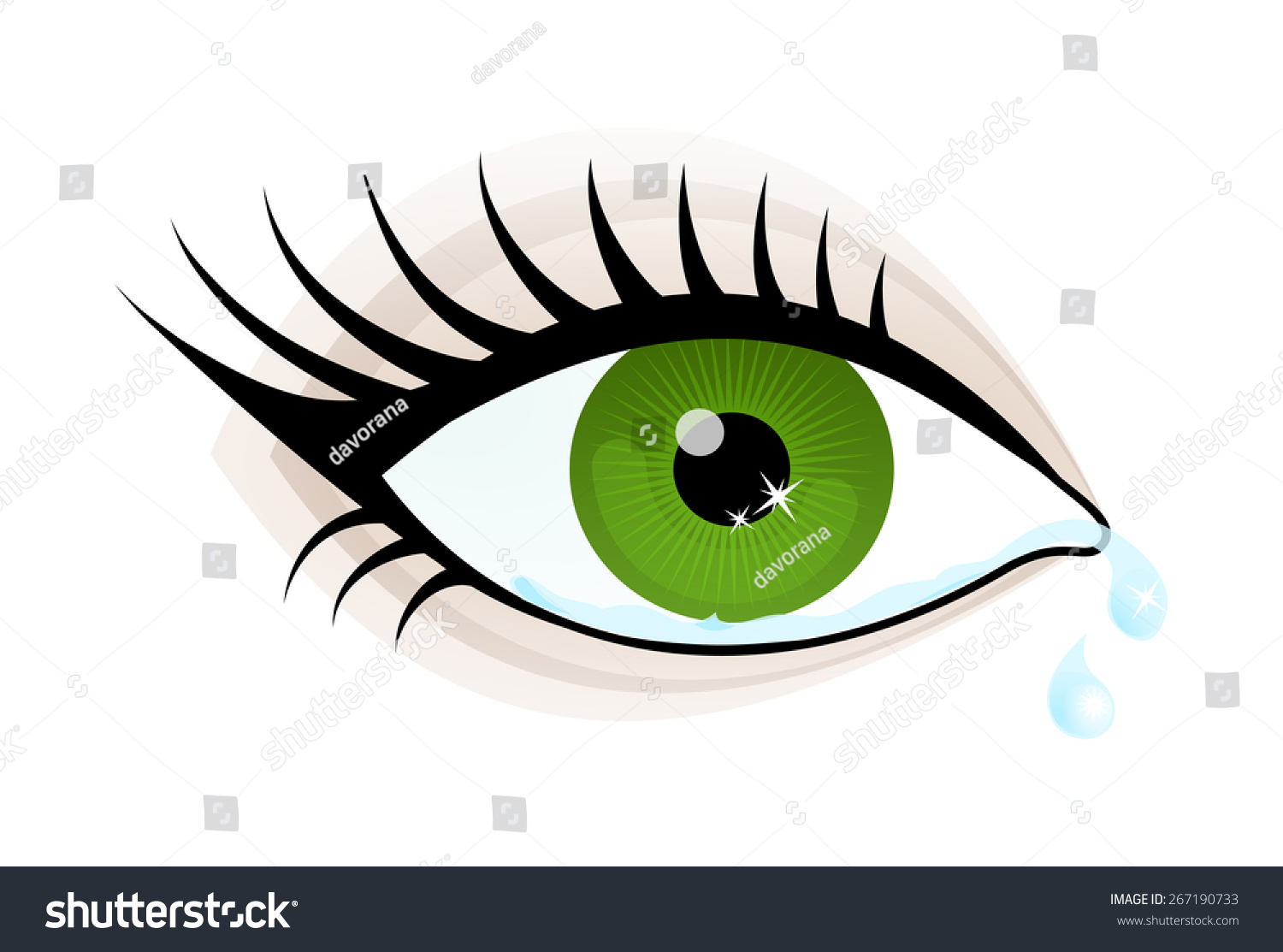 Beautiful Green Color Woman Eye Cry Stock Vector 267190733 ...
