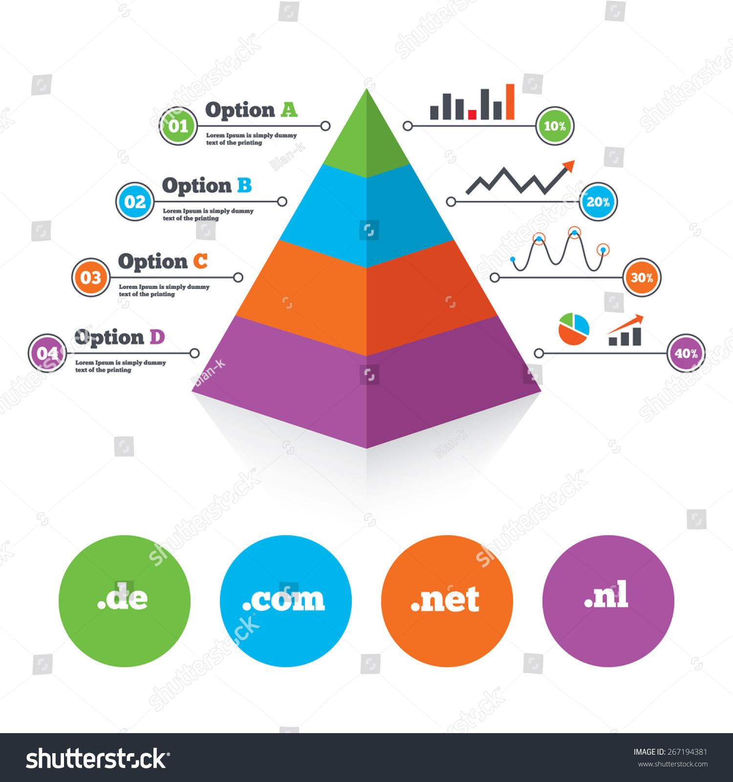 pyramid chart template toplevel internet domain stock vector