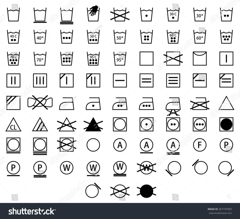 Icon Set Black Laundry Symbols Washing Stock Vector Royalty Free