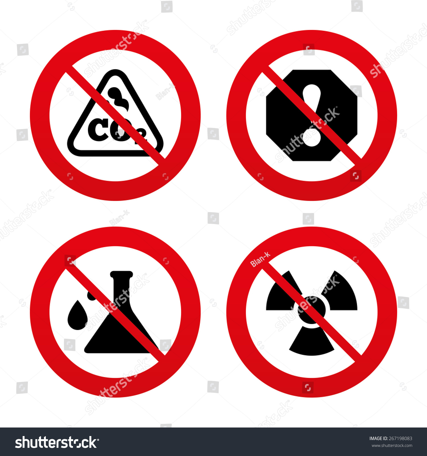 No Ban Stop Signs Attention Radiation Stock Vector Royalty Free