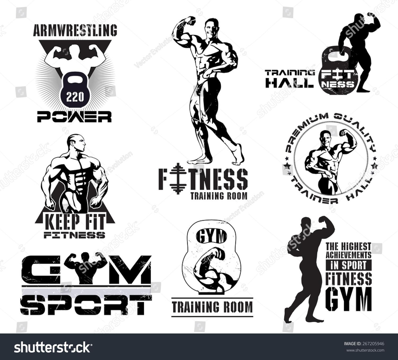 Bodybuilding Logotype Sign Symbol Fitness Room Stock