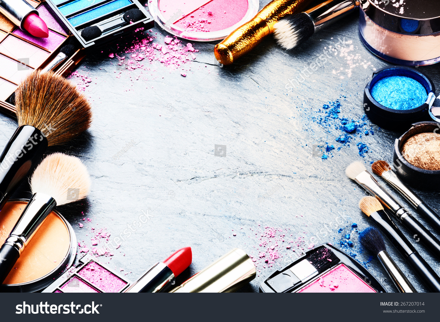 royaltyfree colorful frame with various makeup