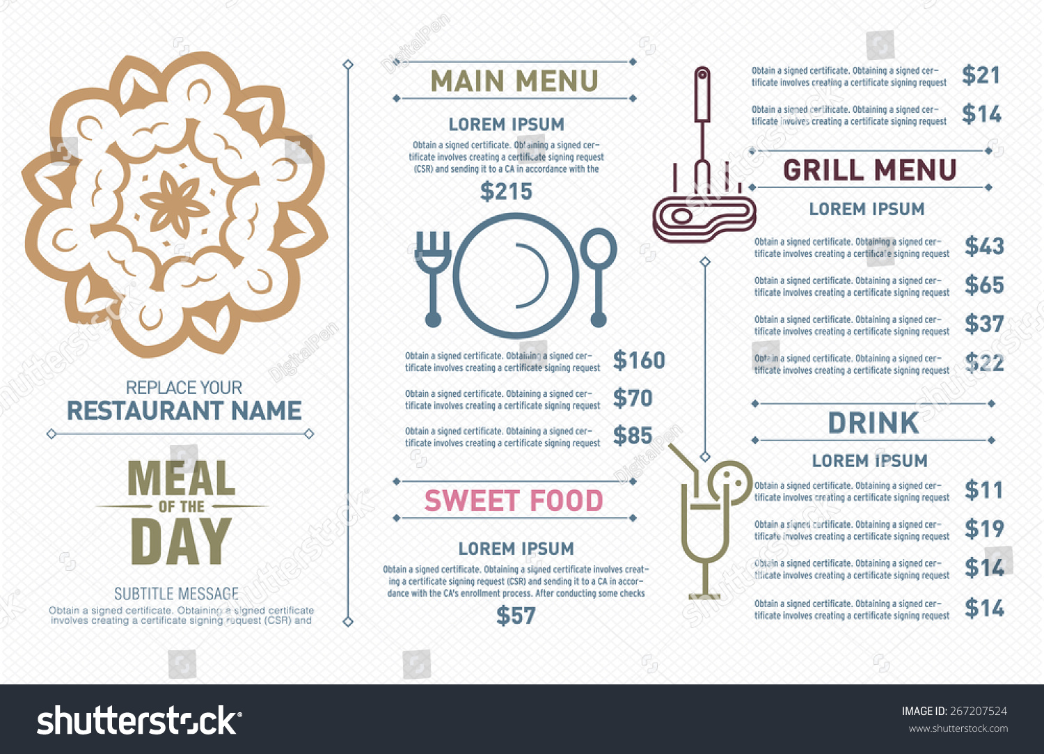 Restaurant Menu Design Hipster Style Free Stock Vector 2018