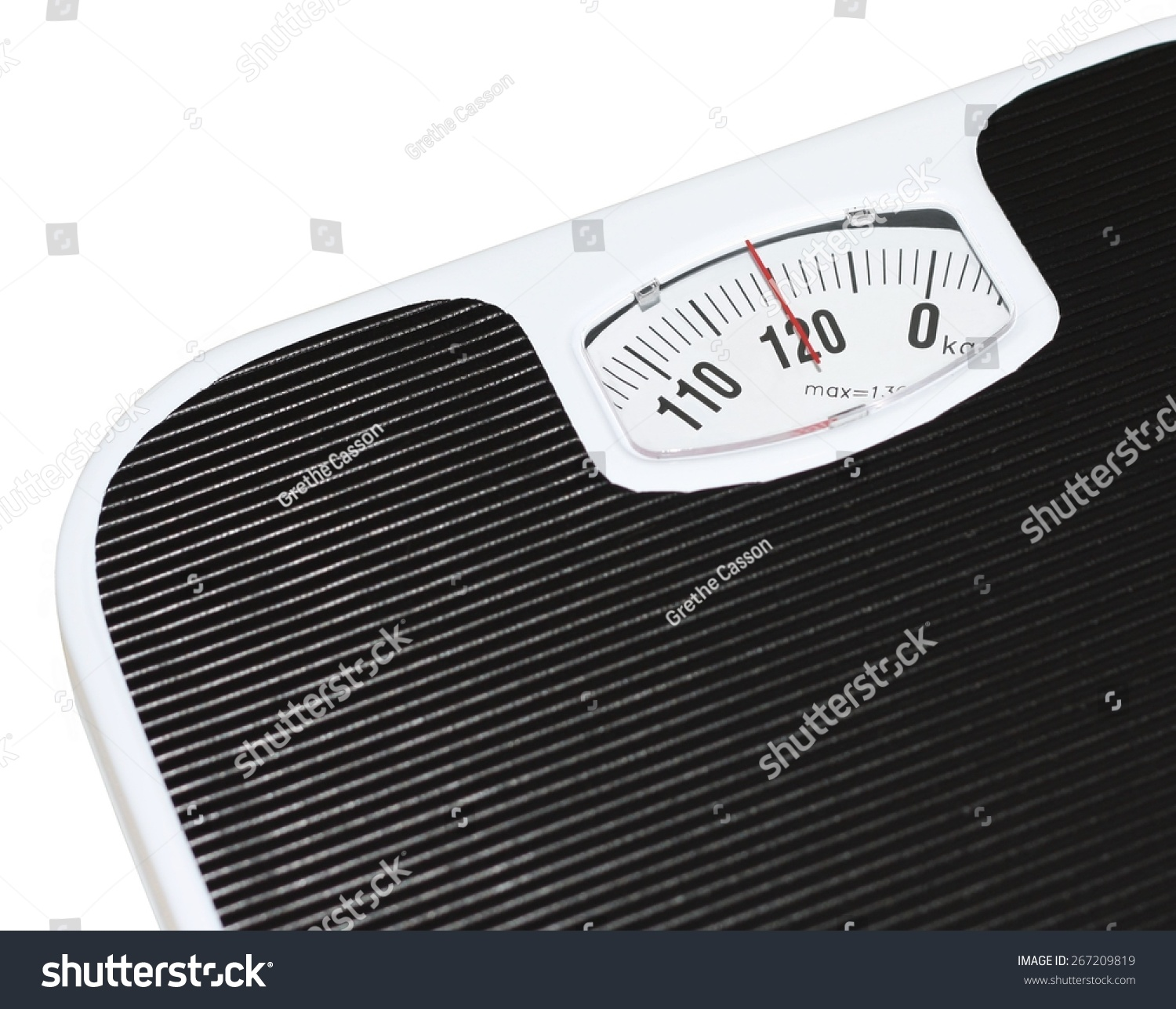 Isolated Black And White Bathroom Scales At 120 Kilograms
