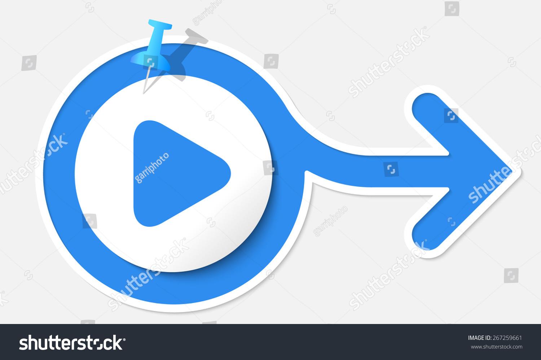 Blue Arrow White Frame Play Symbol Stock Vector 267259661 Shutterstock