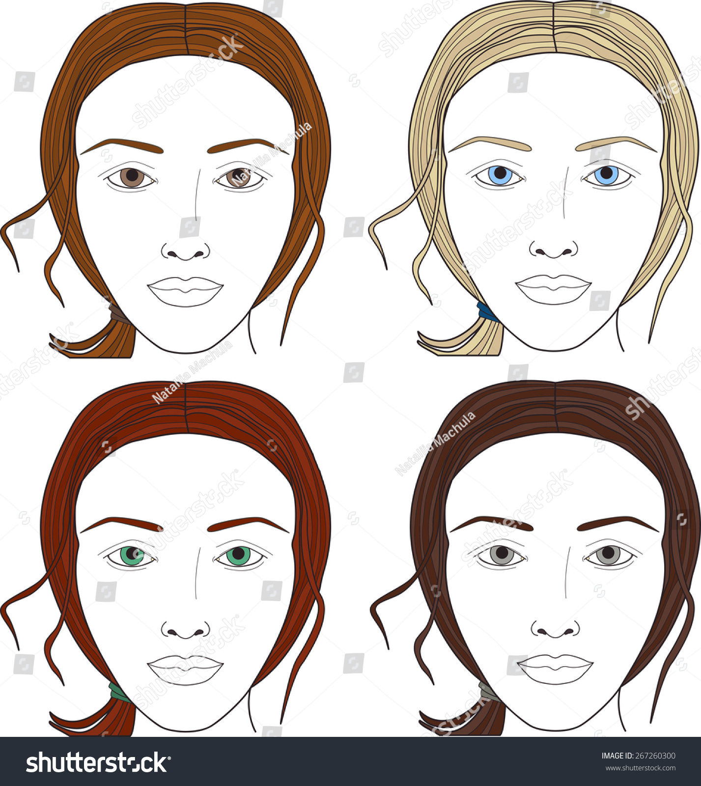 Face Charts Set Woman Face Different Stock Vector Royalty Free