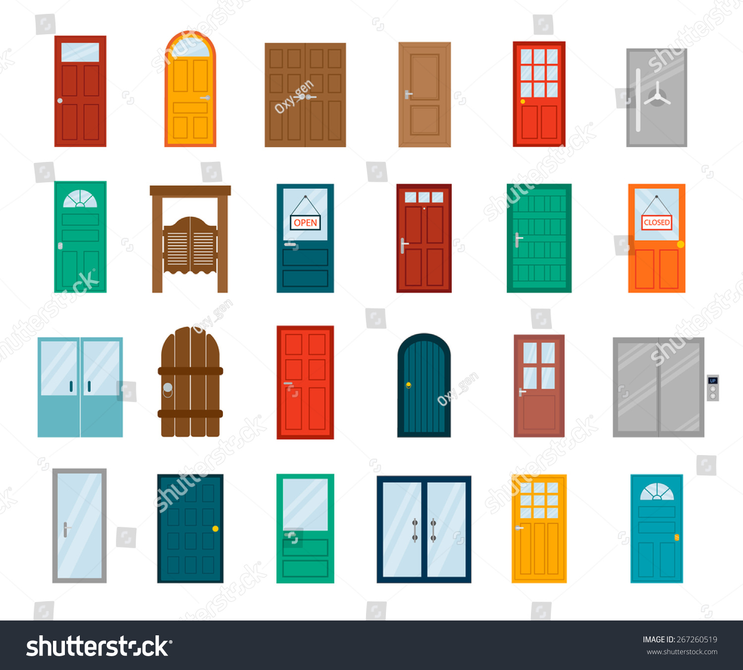 Colorful front doors houses buildings set stock vector for Main door design for flat