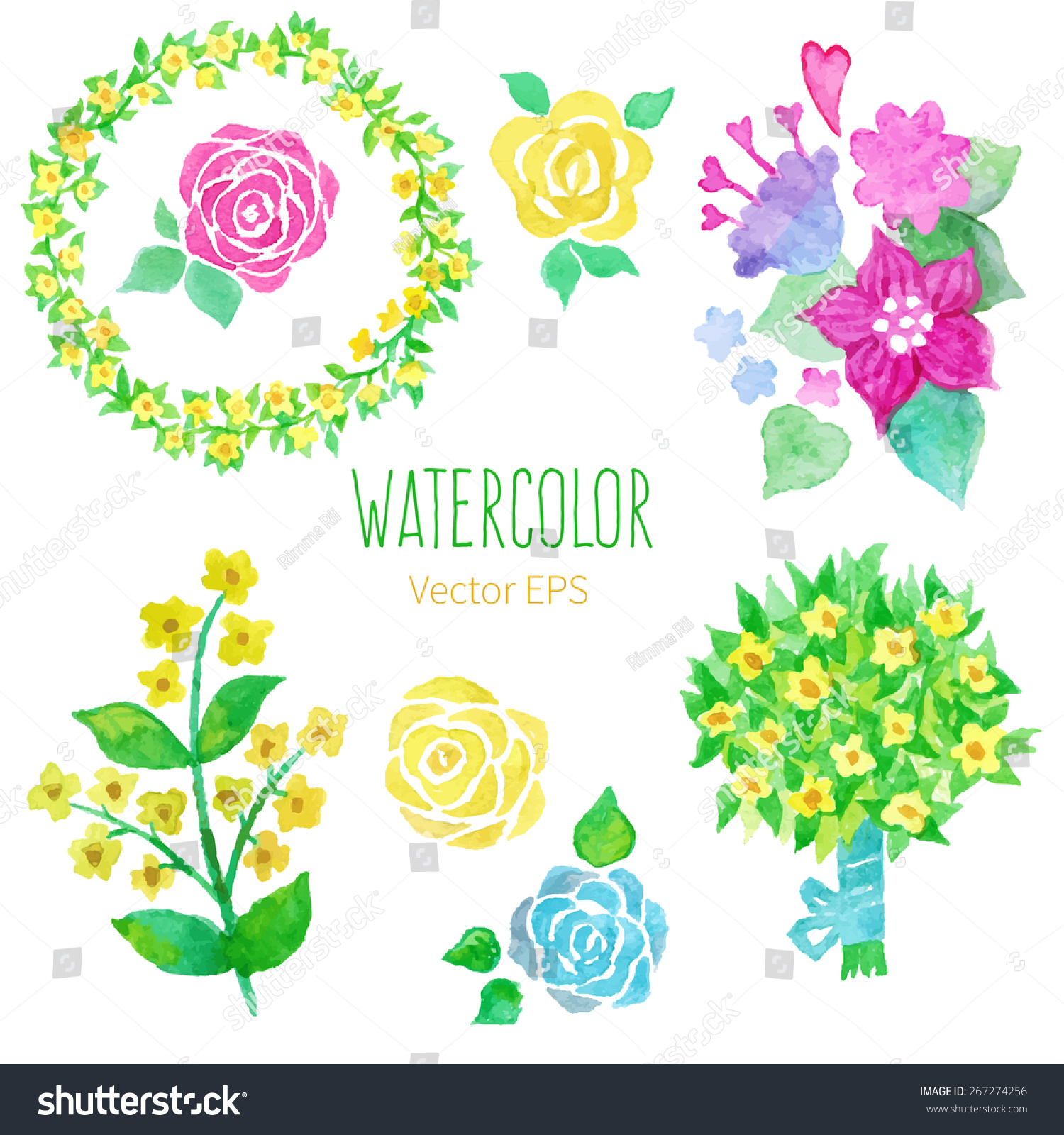 Floral Collection Wreath Bouquet Yellow Flowers Stock Vector