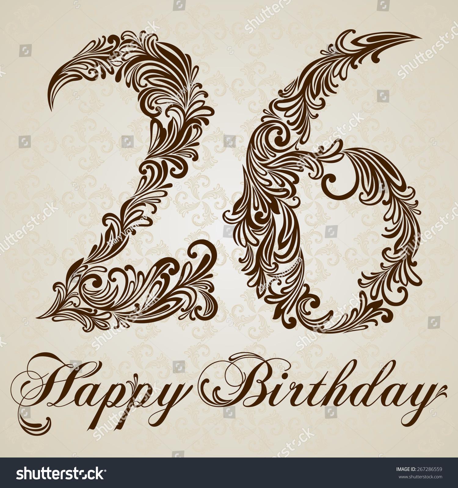 Happy Birthday Card With Number Twenty Six Vector Design Background Swirl Style Illustration