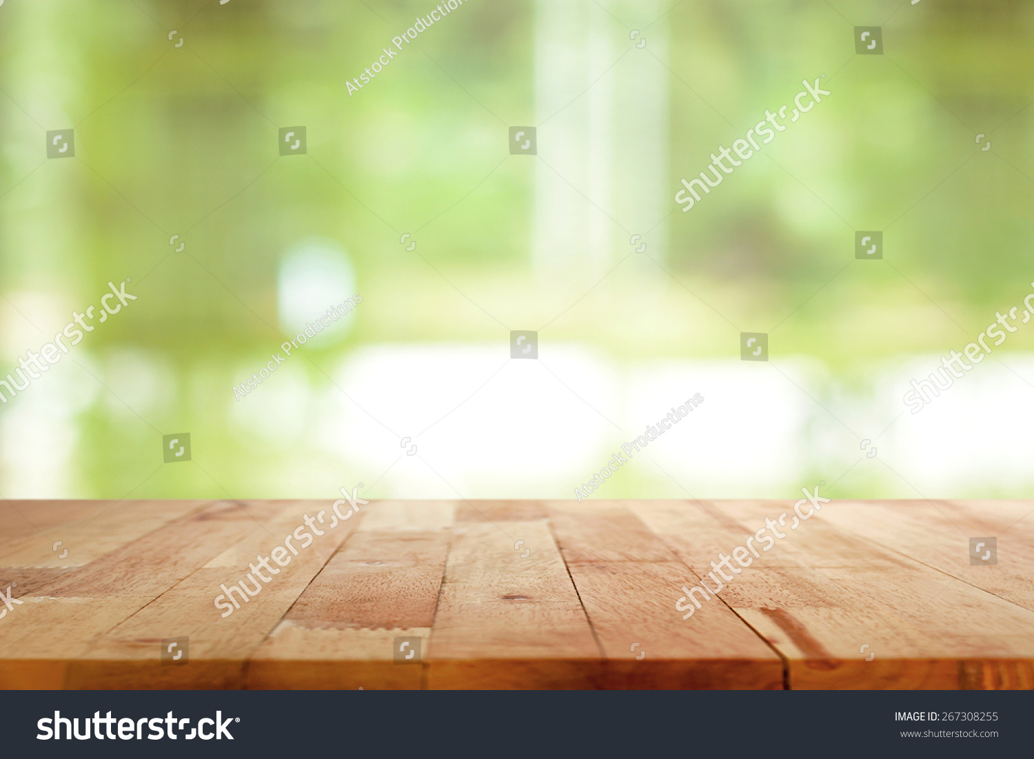 Wood table background hd - Wood Table Top On Blurred Green Background Can Be Used For Montage Or Display Your