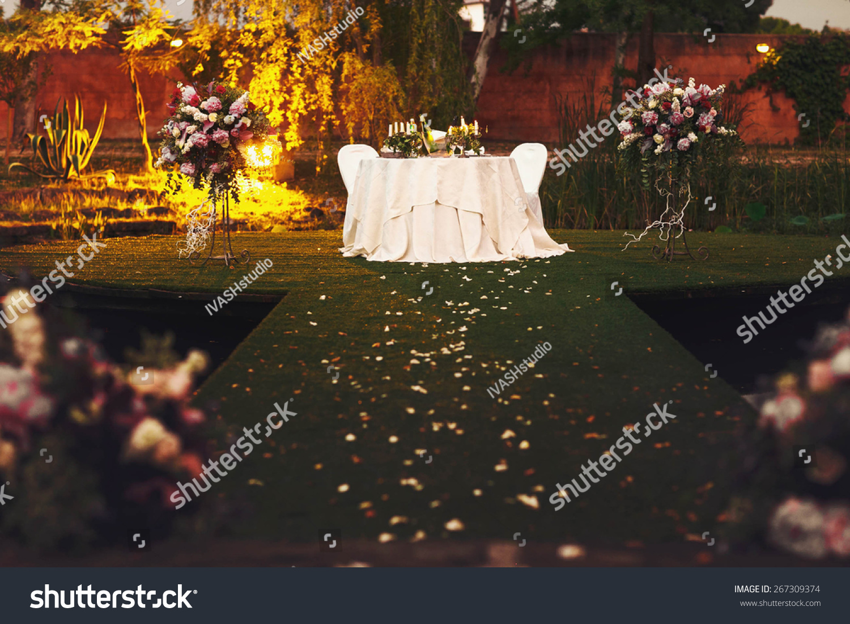Stylish Wedding Table Decorated Flowers Peonies Stock Photo (Royalty ...