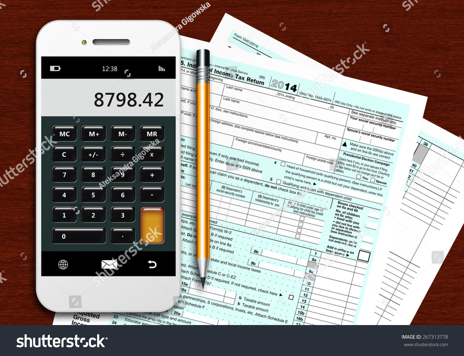 Tax form 1040 with phone calculator and pencil lying on for 1040 tax table calculator