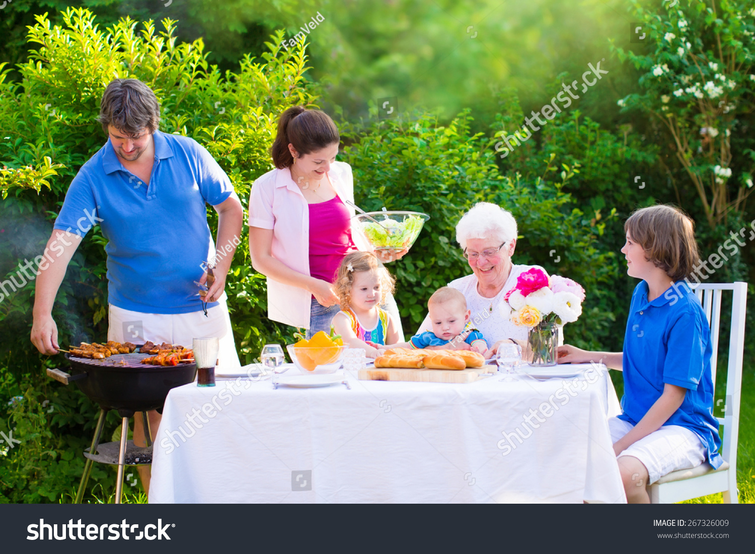 grill barbecue backyard party happy big stock photo 267326009