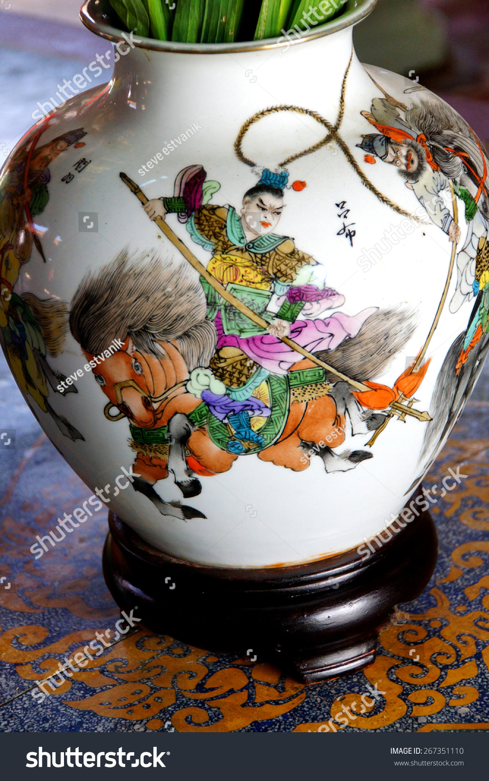 Chinese mounted warrior painting on vase stock photo 267351110 chinese mounted warrior painting on vase in fukian assembly hall hoi an vietnam reviewsmspy