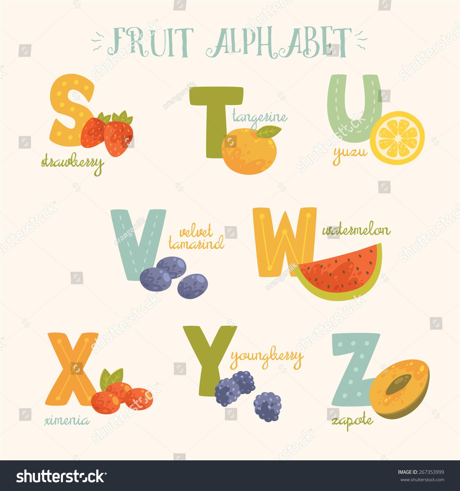Colorful Letter V Logo: Vector Colorful Fruit Alphabet S T Stock Vector 267353999