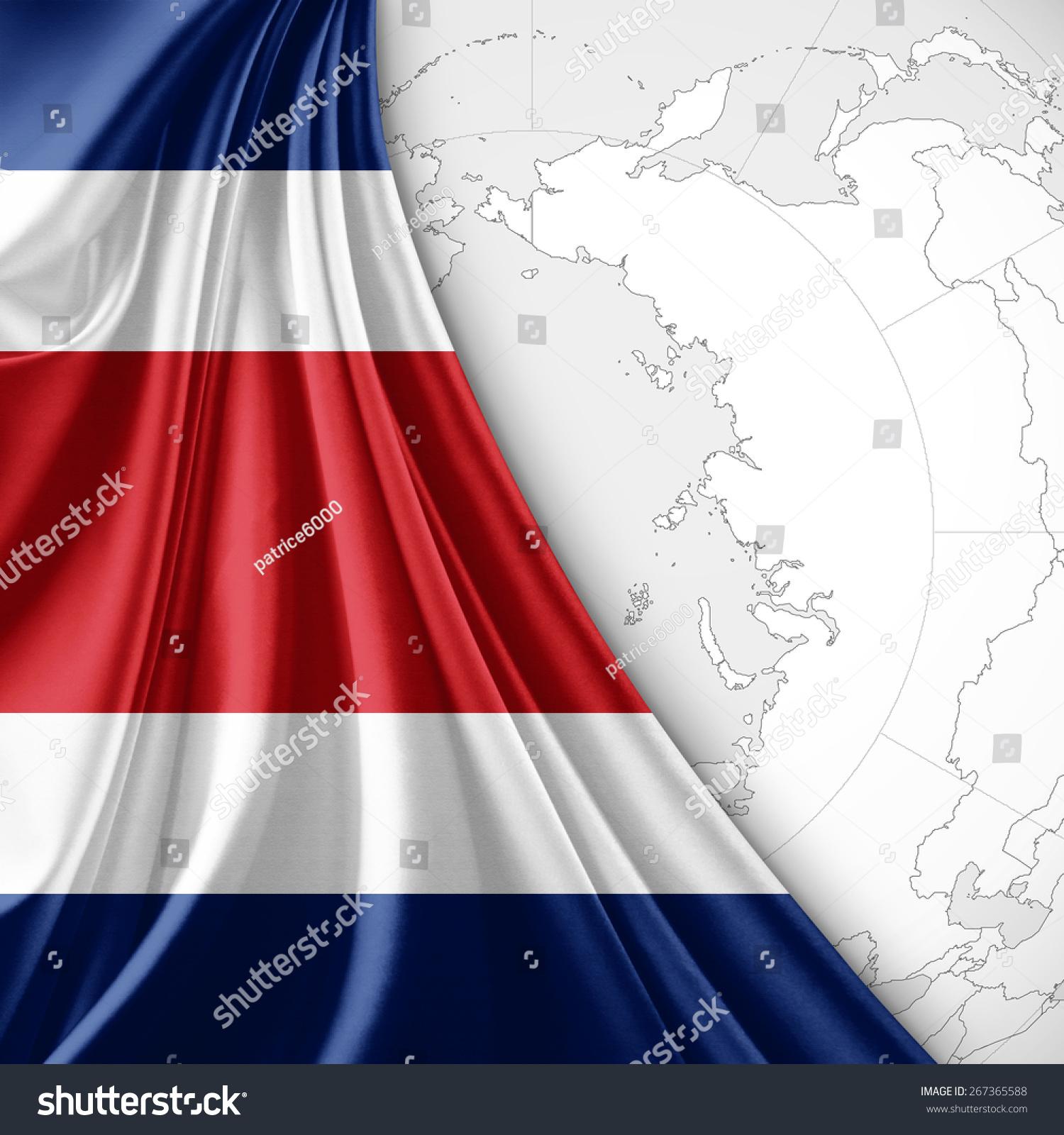 Costa Rica Flag World Map Background Stock Illustration - Royalty ...
