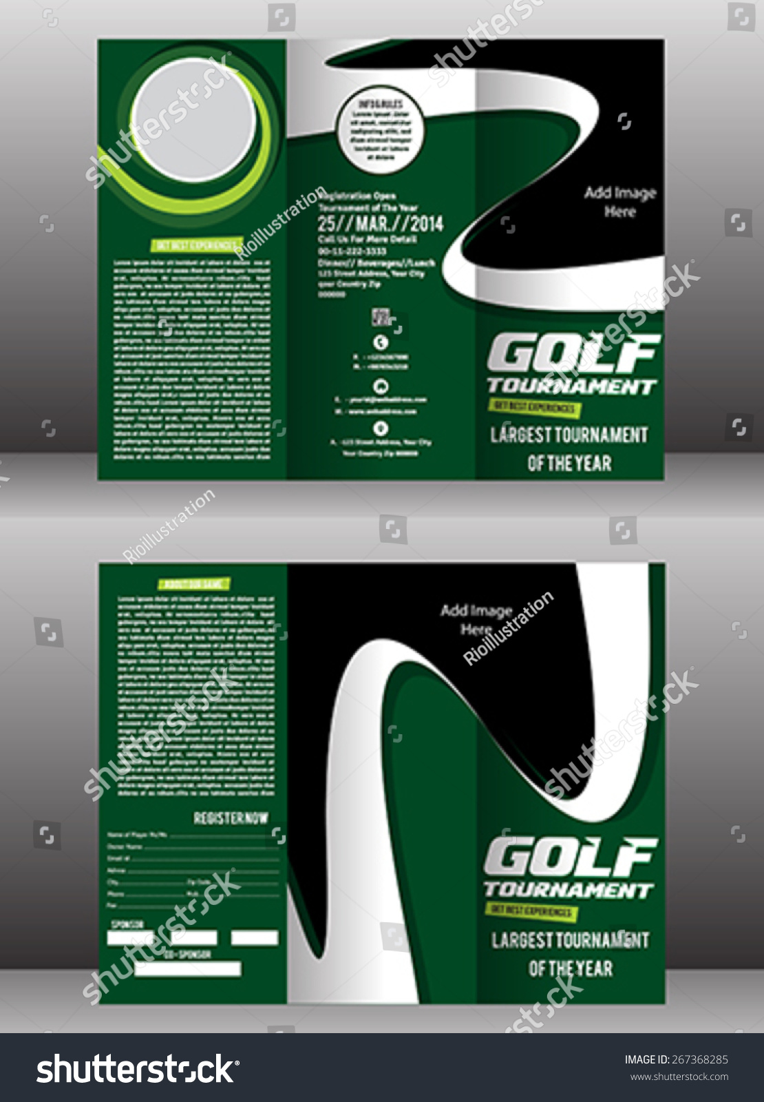 Tri fold golf brochure flyer template stock vector for Golf brochure template
