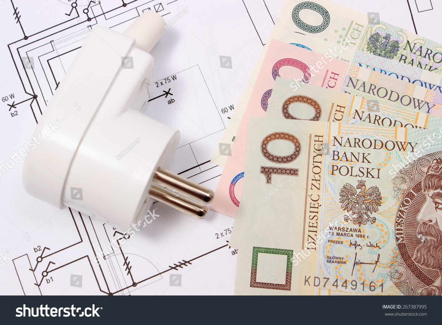 Electric Plug Money On Electrical Construction Stock Photo Edit Now Drawing For House And Of Accessories Engineering Work