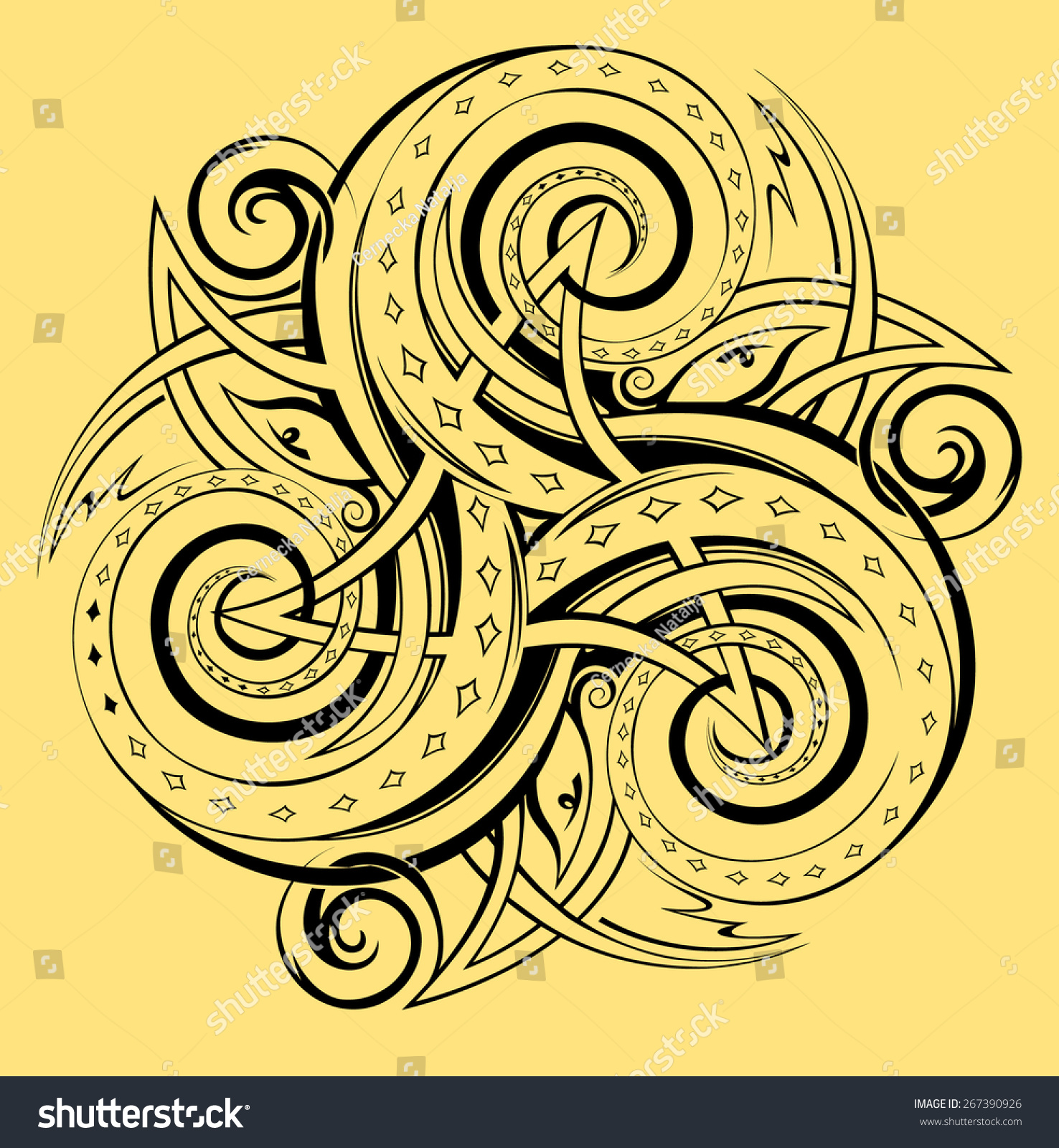 Celtic Disk Ornament Triple Spiral Symbol Stock Vector Royalty Free