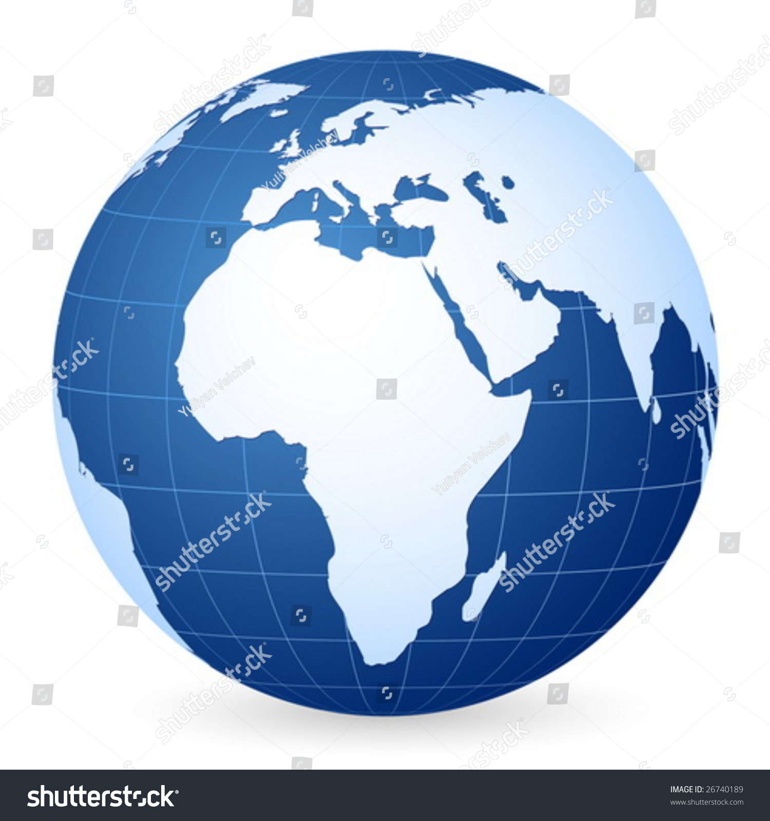 Blue World Globe On White Background Stock Vector 26740189 ...