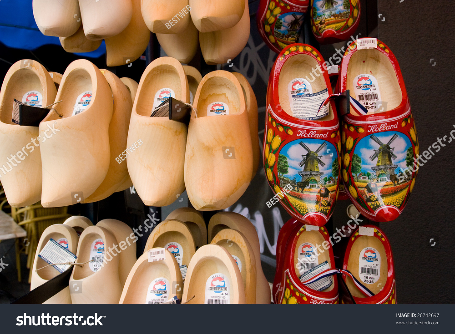 dutch traditional wooden shoes clogs symbol stock photo 26742697