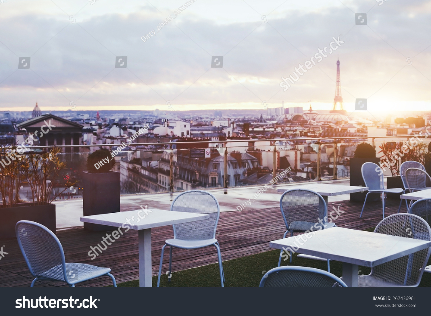 of restaurant in paris with panoramic view on eiffel tower france