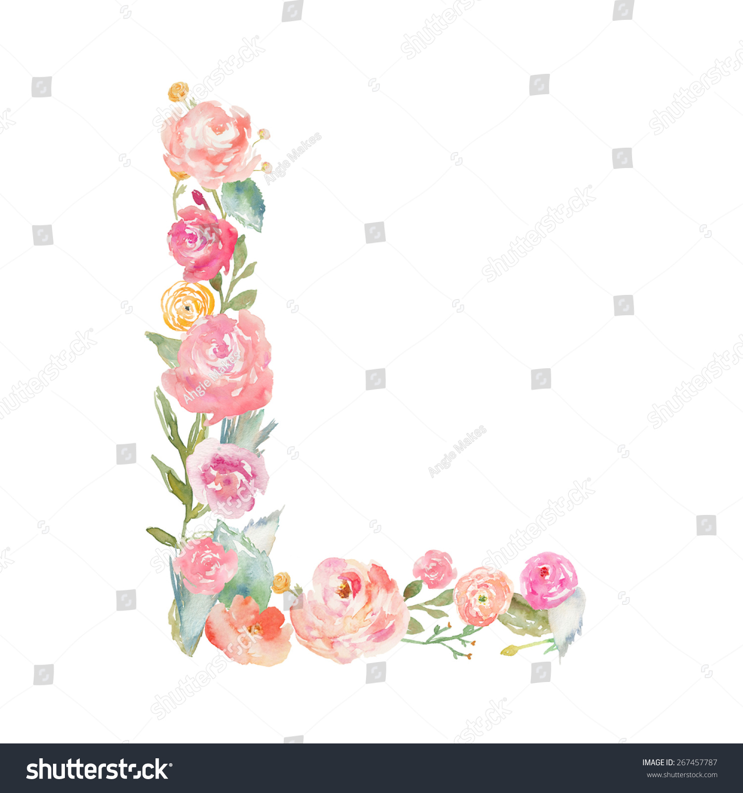 Watercolor Floral Monogram Letter L Stock Illustration Royalty