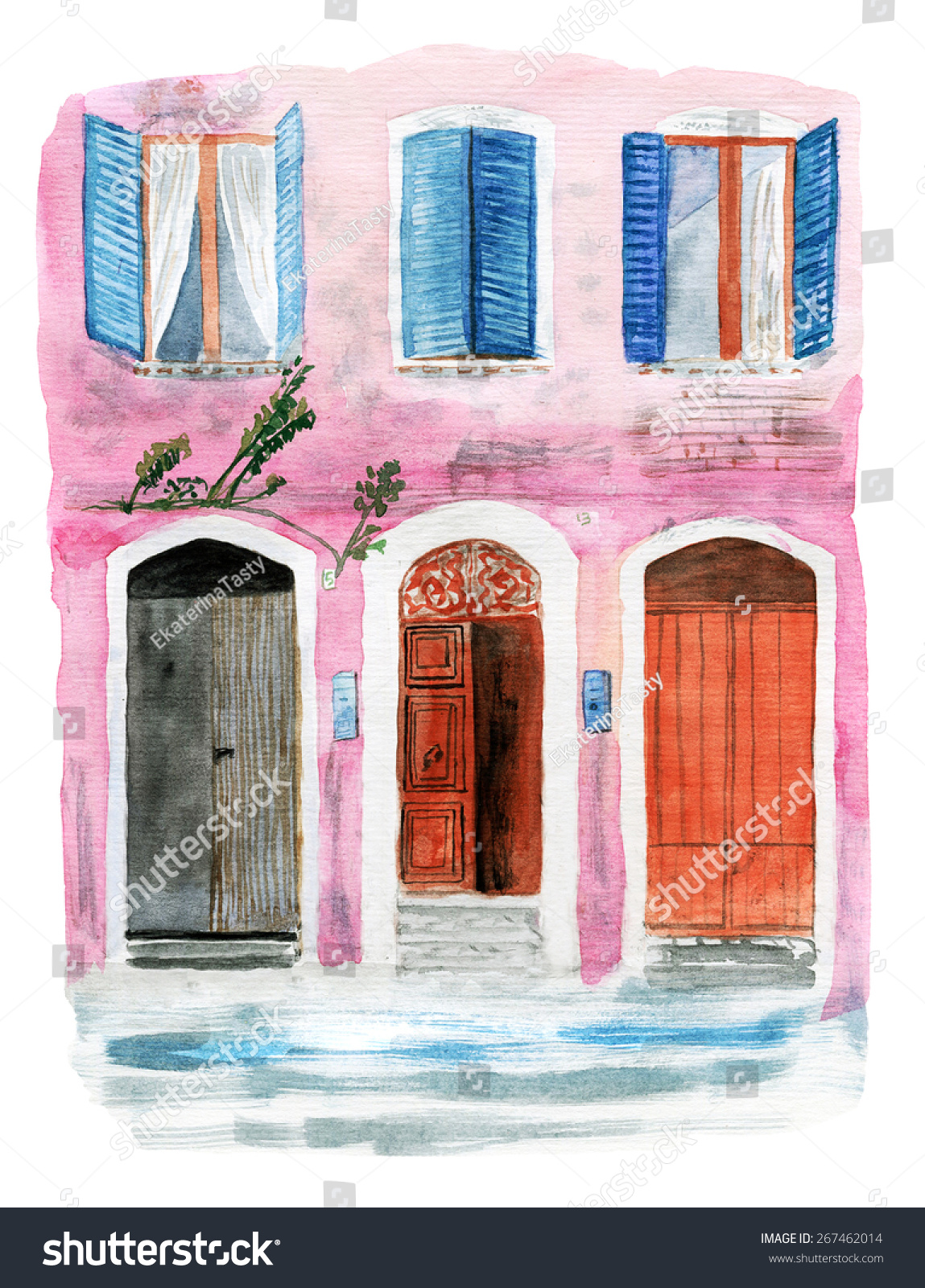 Pink House Watercolor Stock Illustration 267462014 - Shutterstock