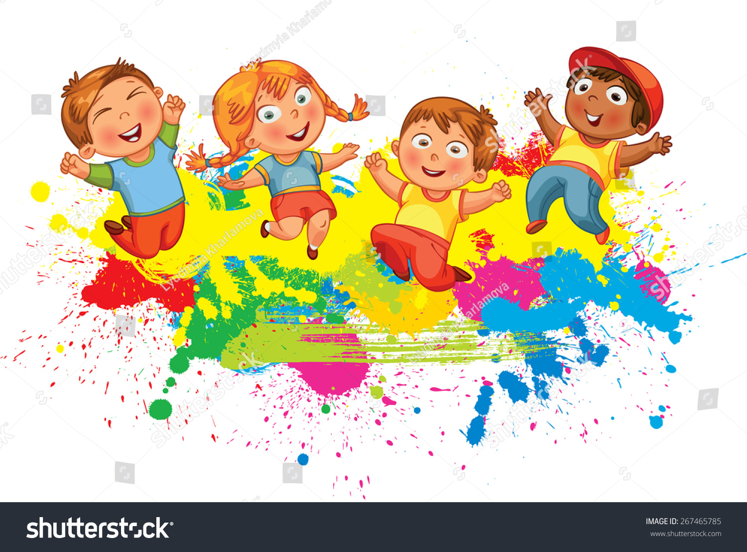 children jumping on the background color splash banner funny cartoon character vector illustration