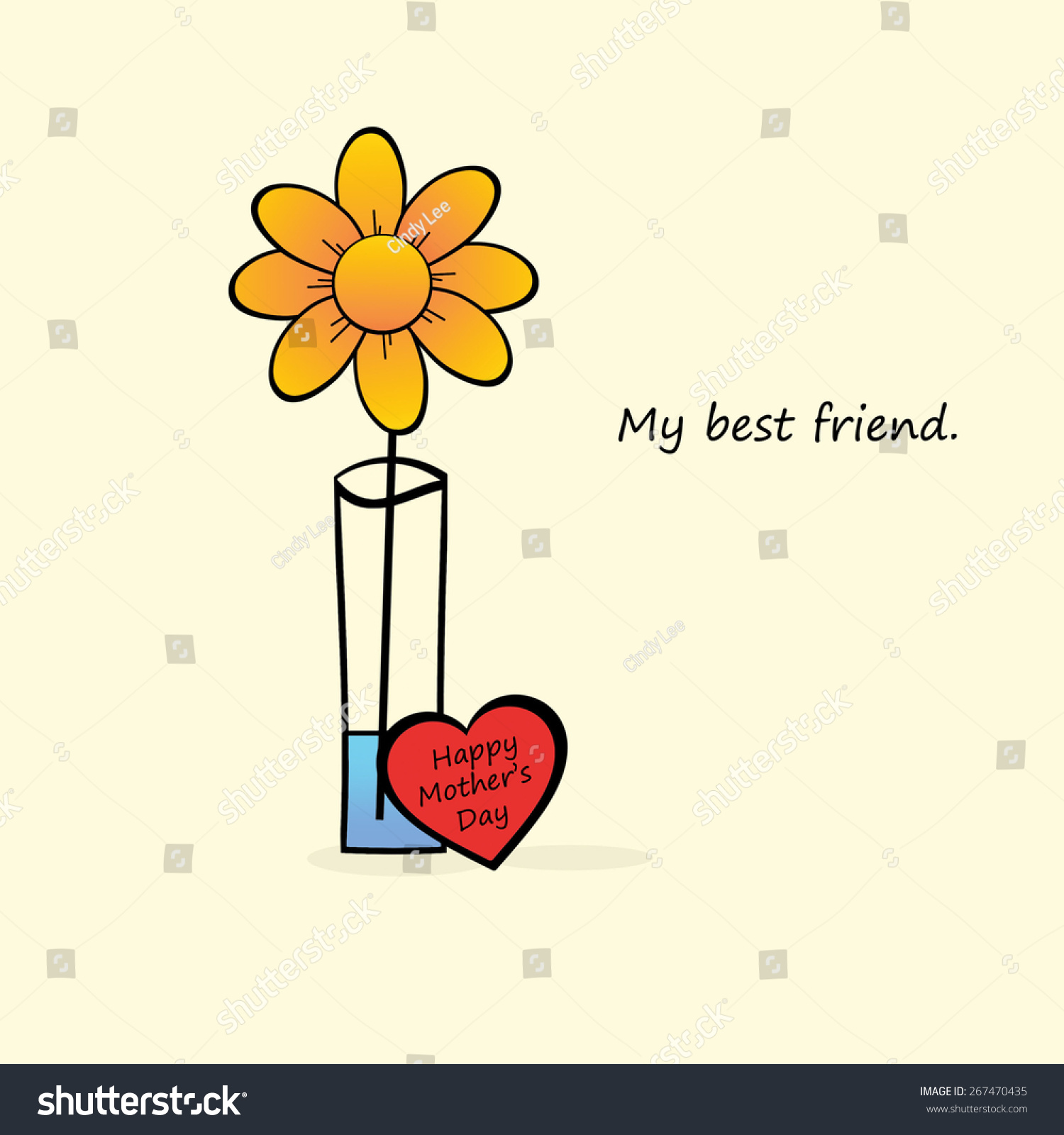 Mothers Day My Best Friend Stock Illustration 267470435