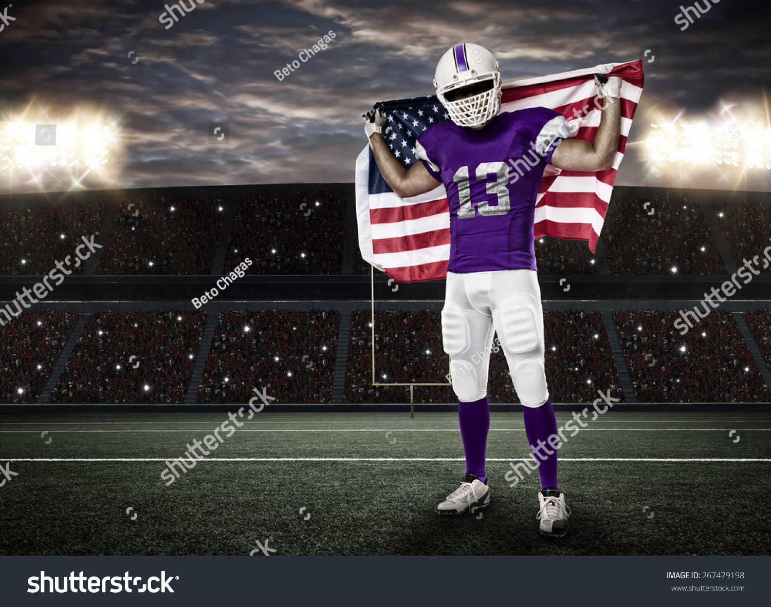 31feea10c3a Football Player with a yellow uniform and a american flag