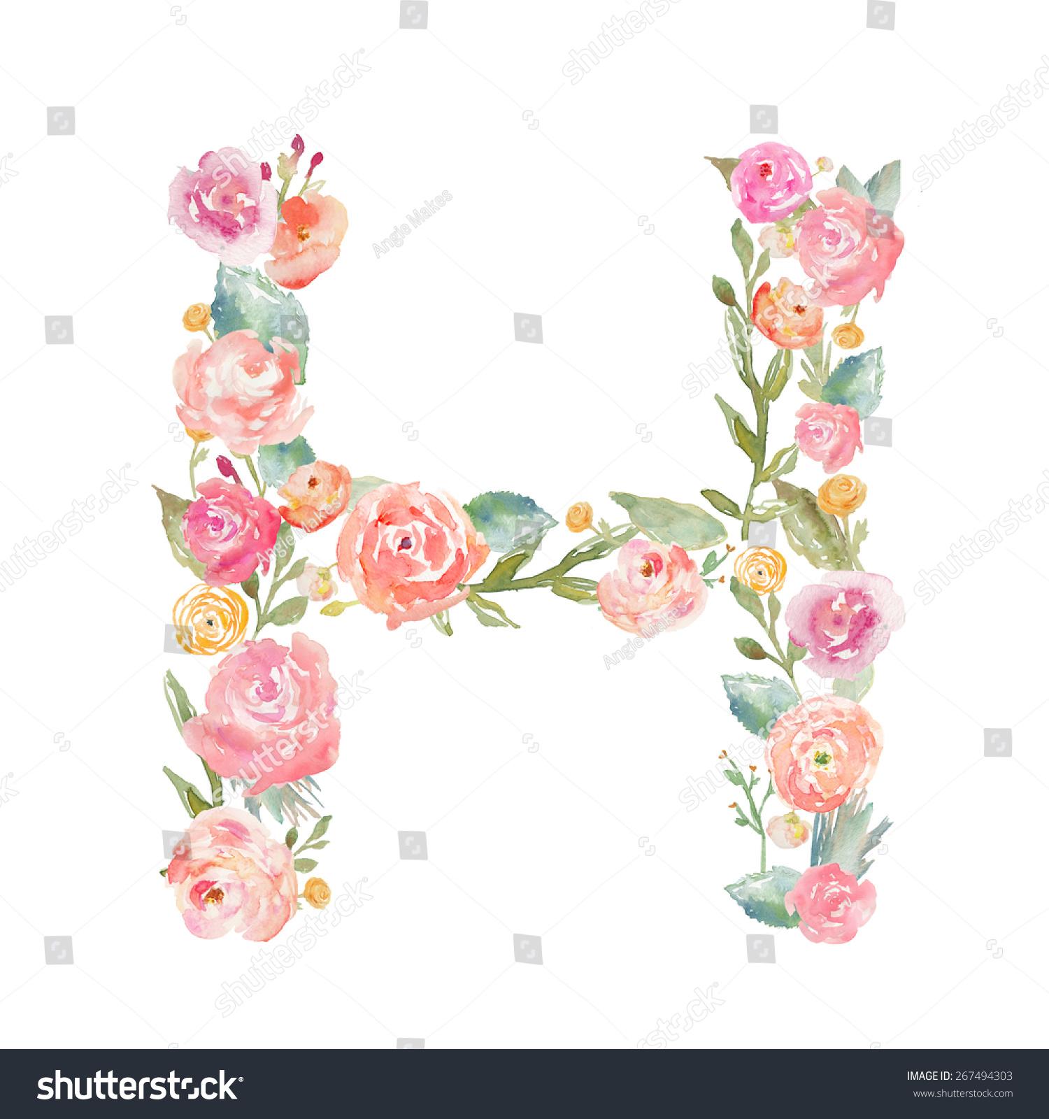 Watercolor Floral Monogram Letter H Stock Illustration