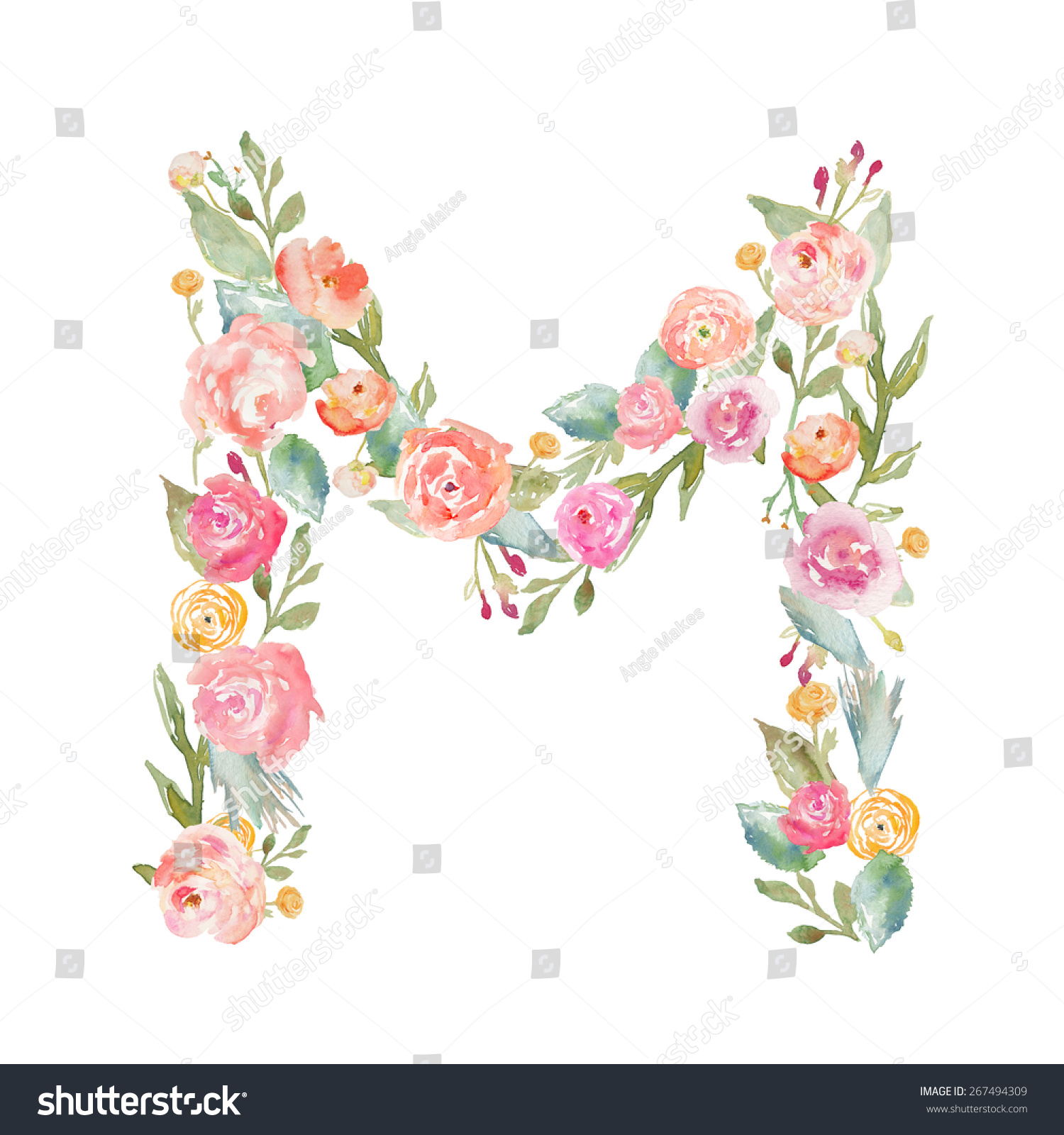 Watercolor Floral Monogram Letter M  Floral Alphabet