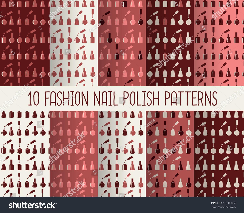 10 Different Nail Polish Patterns Marsala Stock Vector 267505892 ...