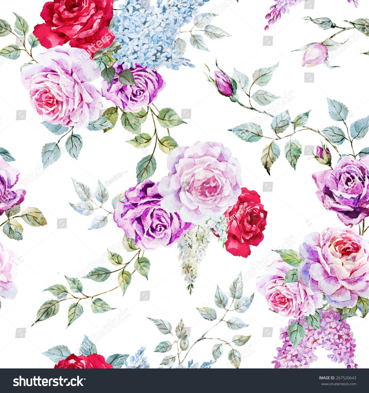 Watercolorflower Pattern Rose Vintage Lilac Leaves Stock