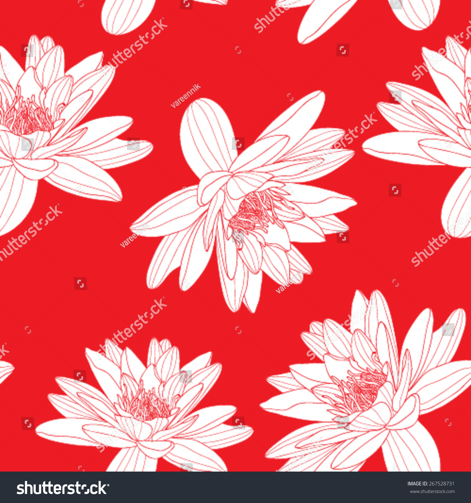 Vector Seamless Pattern Lotus Flowers Red Stock Vector 267528731 ...