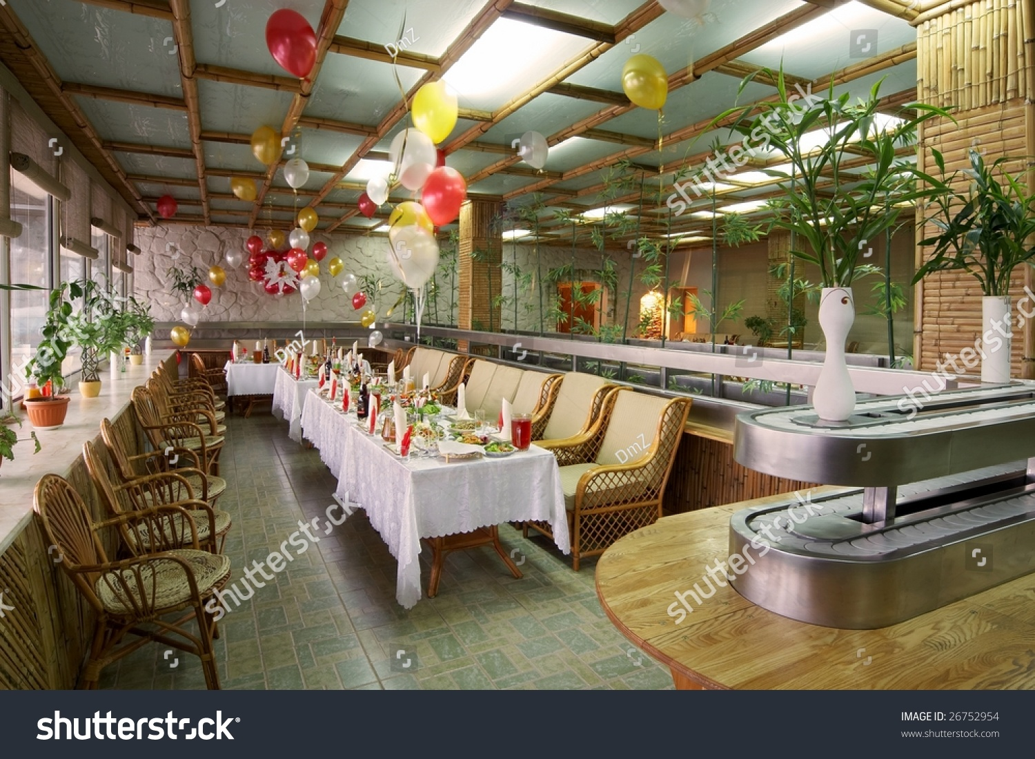 Family restaurant interior stock photo