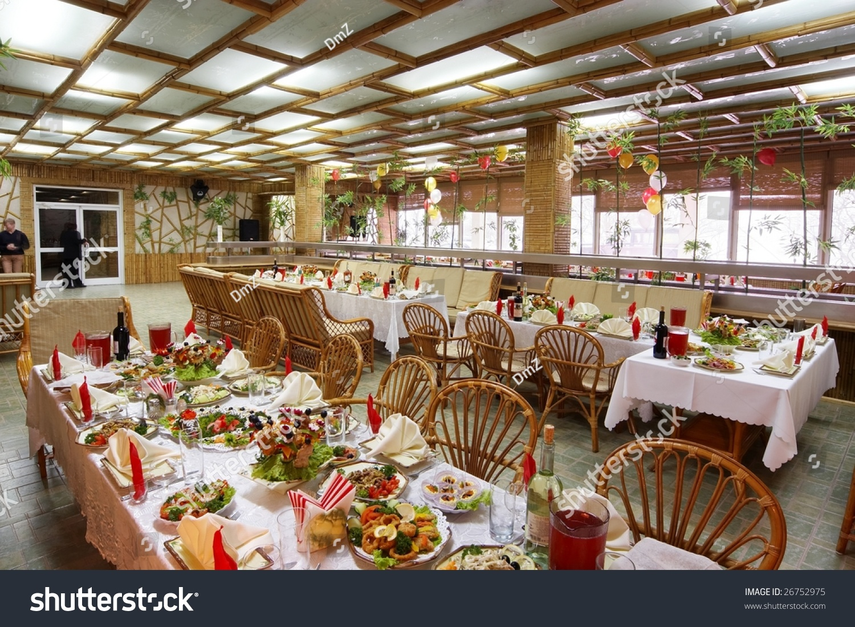 Family restaurant interior stock photo