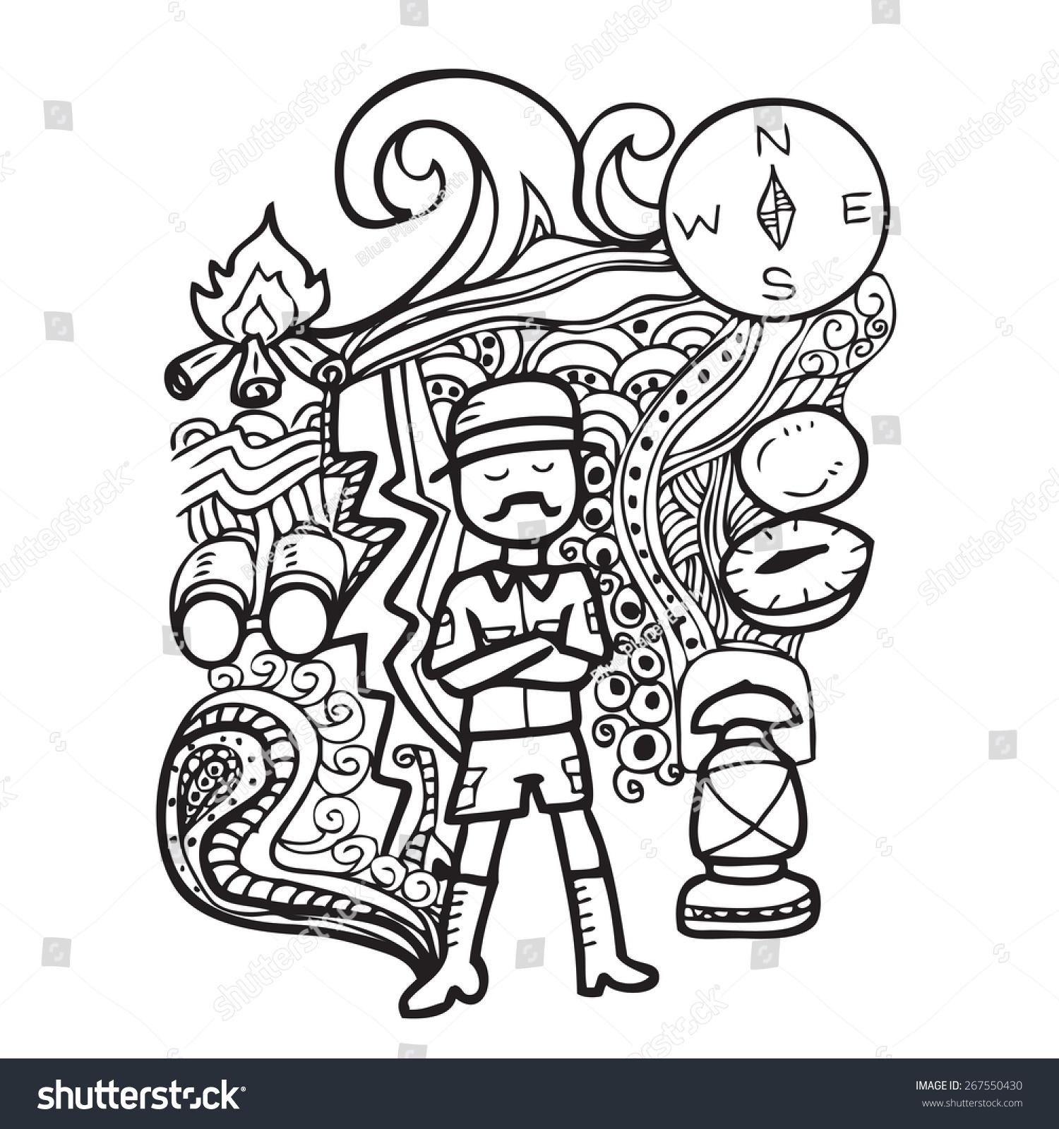man camping doodle cartoon vector stock vector 267550430