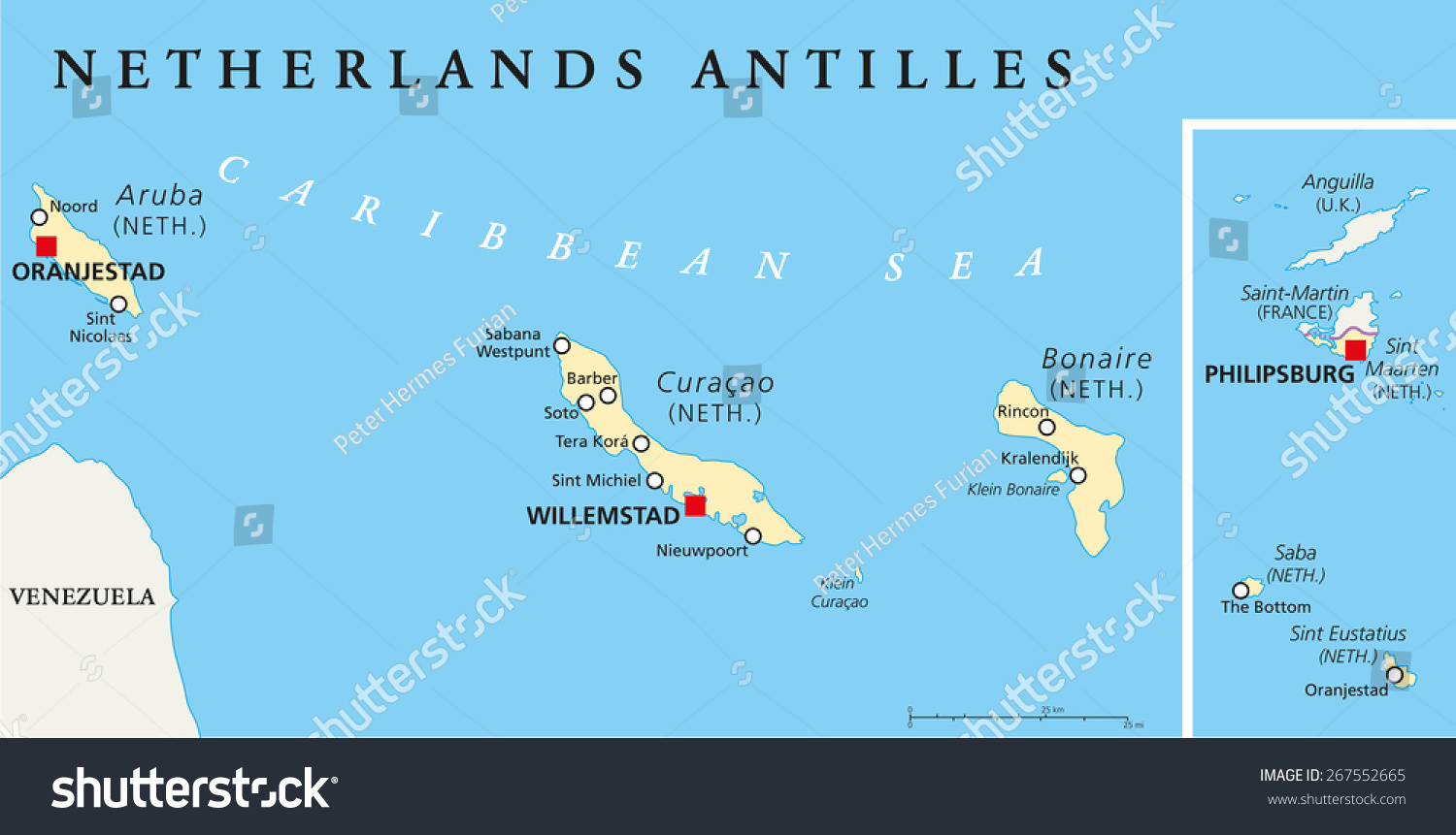 Netherlands Antilles Political Map Aruba Curacao Stock Vector - Map of netherlands antilles world