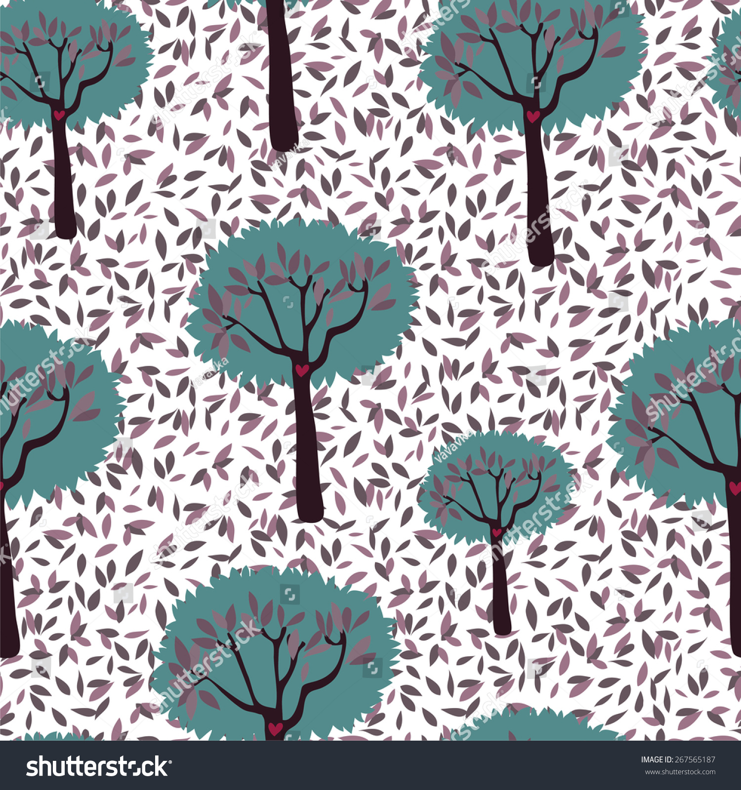 seamless pattern with forest and leaf stock vector