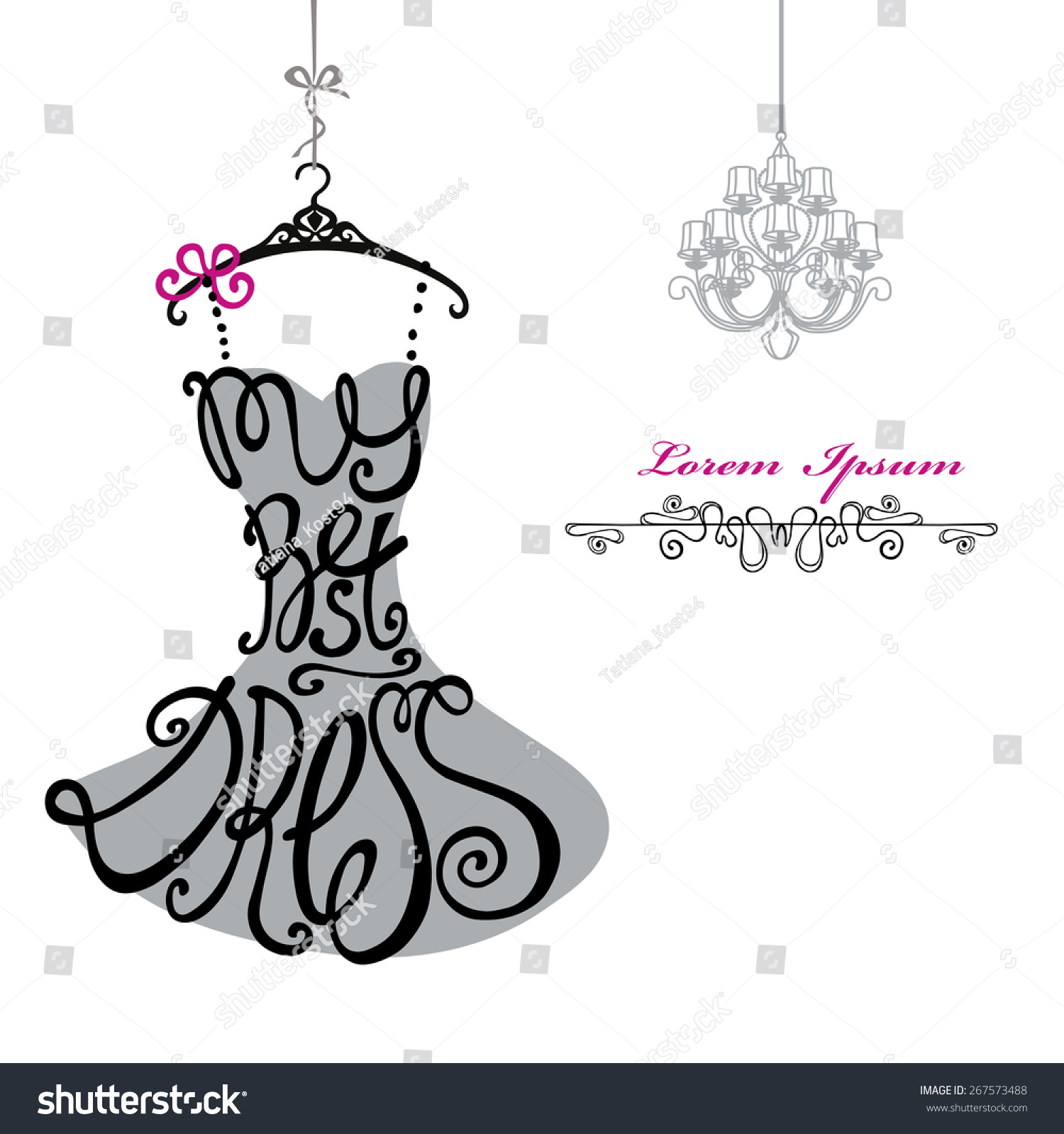 Royalty Free Typography Dress Designlhouette Of 267573488 Stock