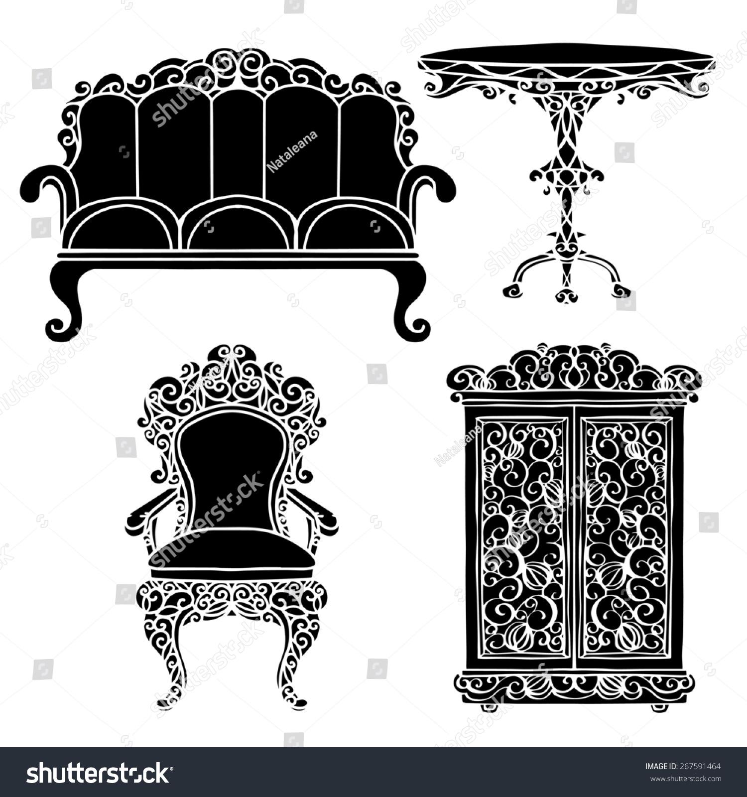 Vintage Furniture Set Chair Sofa Table Stock Illustration