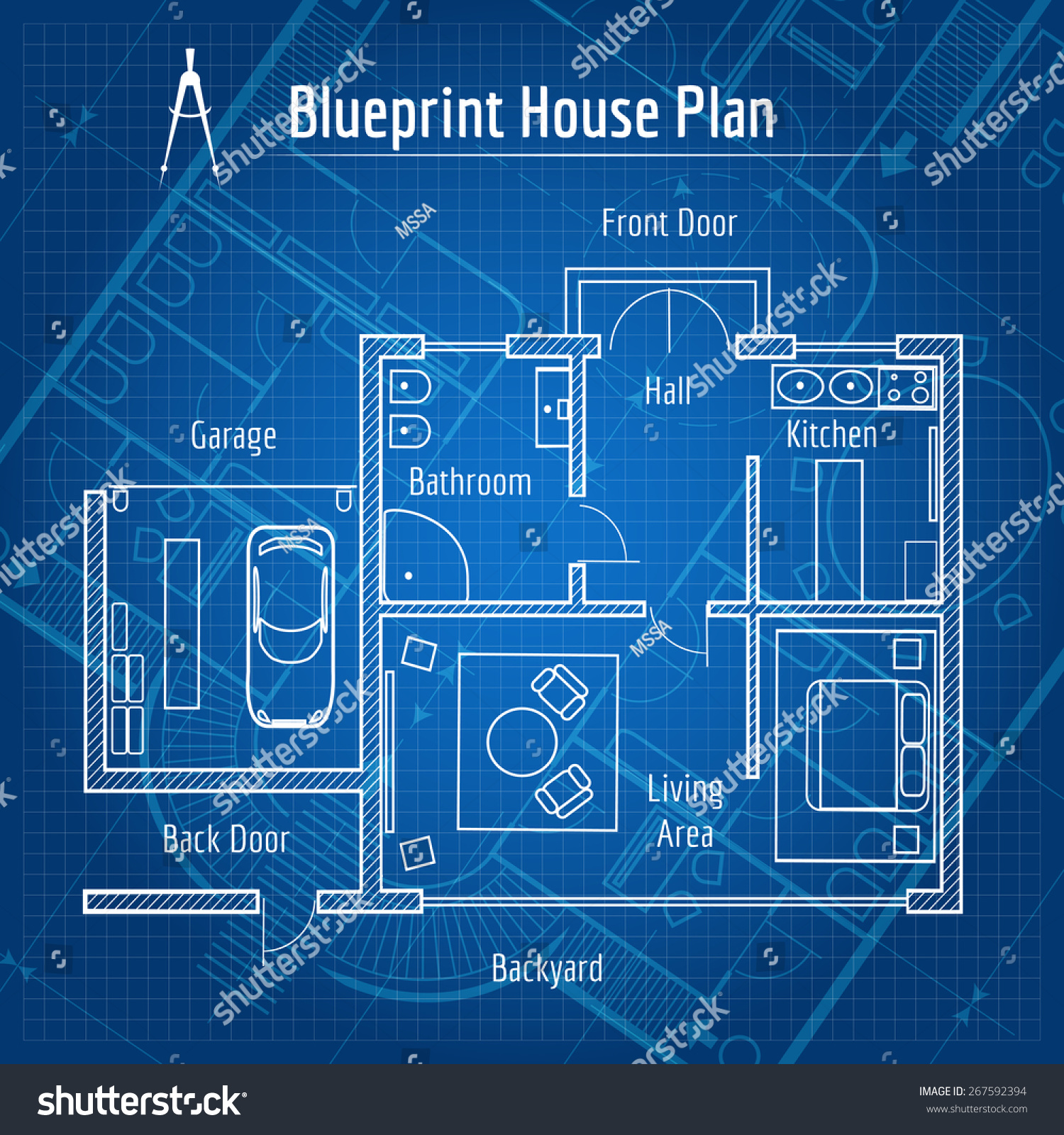 Blueprint house plan  Design architecture home  drawing structure and plan   Vector illustration. Blueprint House Plan Design Architecture Home Stock Vector